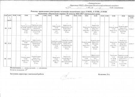 Розклад проведення семестрових екзаменів 2016-2017 навчальний рік